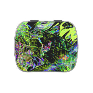 moth on plant abstract dark neon design jelly belly candy tins