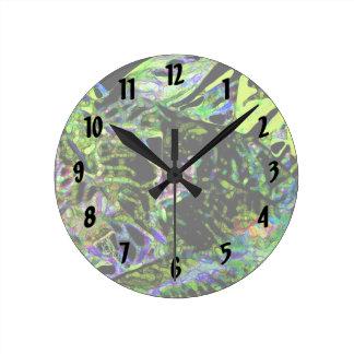 moth on plant abstract dark neon design round wallclock