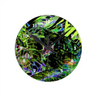 moth on plant abstract dark neon design wall clock