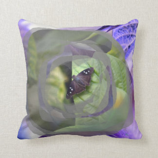 moth on plant inverted edges insect throw pillow