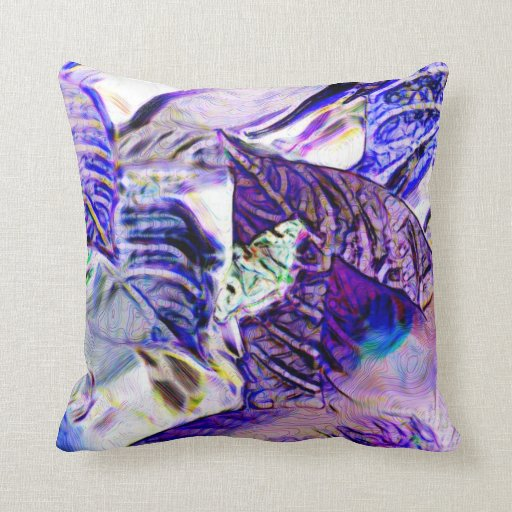 moth on plant purple blue bright abstract pillows