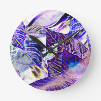 moth on plant purple blue bright abstract round clock