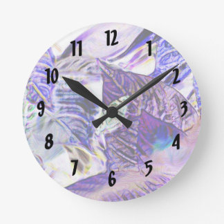 moth on plant purple blue bright abstract round wall clock
