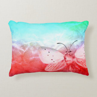 Moth on Watercolor Accent Pillow