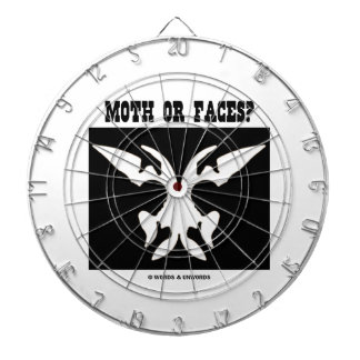 Moth Or Faces? (Optical Illusion Black White) Dart Board