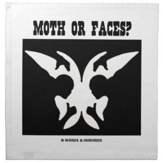 Moth Or Faces? (Optical Illusion Black White) Printed Napkins