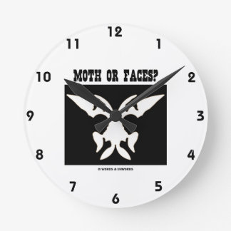 Moth Or Faces? (Optical Illusion Black White) Round Wall Clock