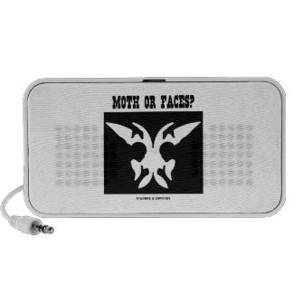 Moth Or Faces? (Optical Illusion Black White) Mp3 Speakers