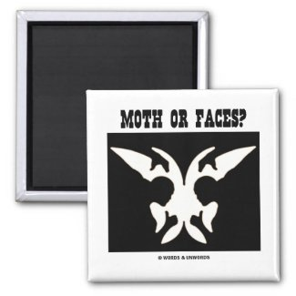 Moth Or Faces? (Optical Illusion) Magnet