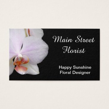 Professional Business Moth Orchid White Pink Flowers Business Card