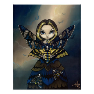 Moth Queen: Acherontia Atropos gothic fairy Print