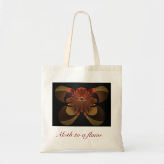 Moth to a flame tote bags