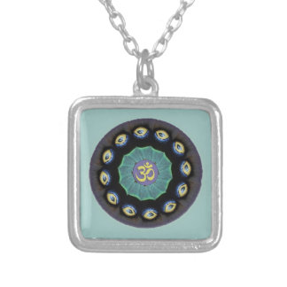Moth Wing Mandala Om Pendant Necklace