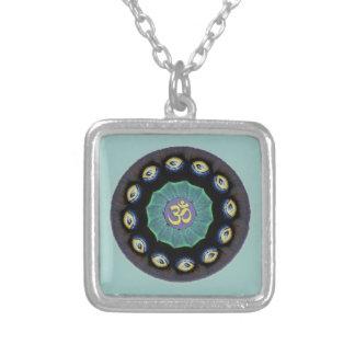Moth Wing Mandala Om Pendant Necklace