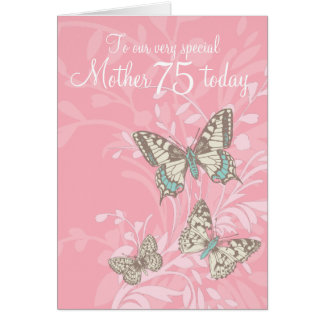 Mother 75th birthday butterflies card