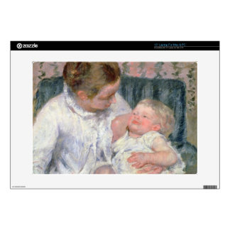 "Mother about to Wash her Sleepy Child, 1880 (oil o 15"" Laptop Decal"