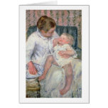 Mother about to Wash her Sleepy Child, 1880 (oil o Greeting Card