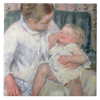 Mother about to Wash her Sleepy Child, 1880 (oil o Ceramic Tile