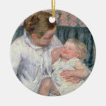Mother about to Wash her Sleepy Child, 1880 (oil o Double-Sided Ceramic Round Christmas Ornament
