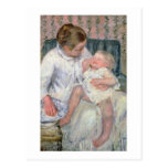 Mother about to Wash her Sleepy Child, 1880 (oil o Postcard