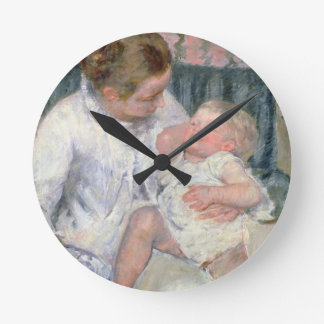 Mother about to Wash her Sleepy Child, 1880 (oil o Round Clock