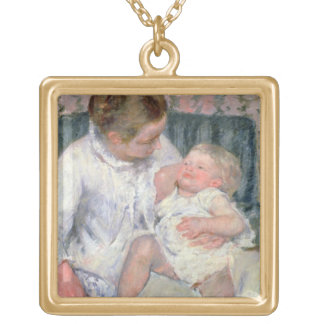 Mother about to Wash her Sleepy Child, 1880 (oil o Square Pendant Necklace