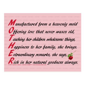 Mother (Acrostic) Postcard