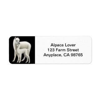 Mother Alpaca and Cria Love Label