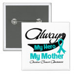 Mother - Always My Hero - Ovarian Cancer Button