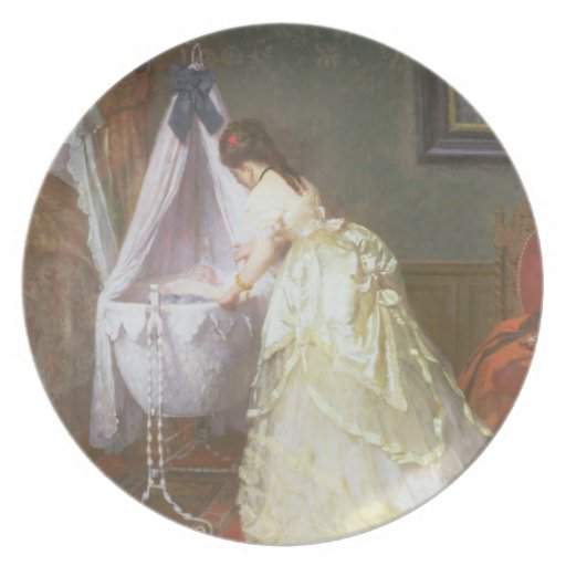 Mother and Baby, 1869 (oil on panel) Dinner Plates