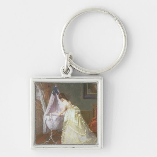 Mother and Baby, 1869 (oil on panel) Keychain