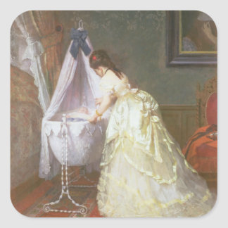 Mother and Baby, 1869 (oil on panel) Square Sticker