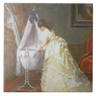 Mother and Baby, 1869 (oil on panel) Tile