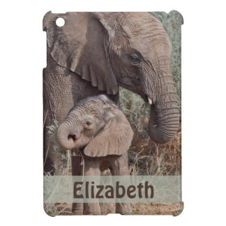 Mother and Baby African Elephant Personalized iPad Mini Cover