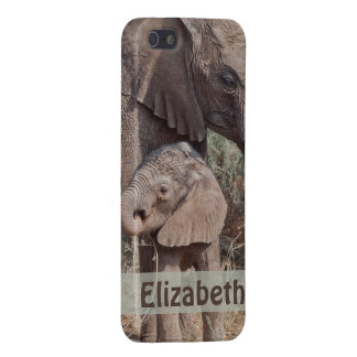 Mother and Baby African Elephant Personalized iPhone SE/5/5s Cover