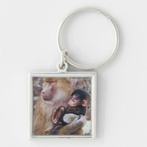 Mother and Baby Baboon Keychain