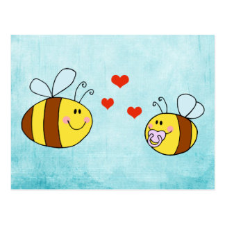 mother and baby bee with hearts postcard