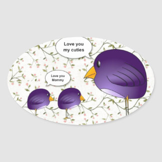 Mother and baby birds cute cartoon nature oval sticker
