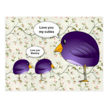 Mother and baby birds cute cartoon nature postcard