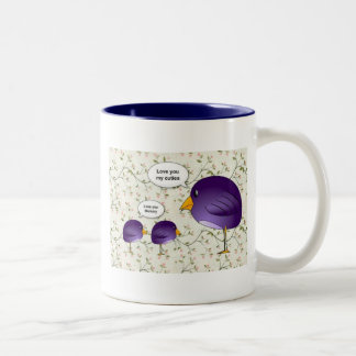 Mother and baby birds cute cartoon nature Two-Tone coffee mug