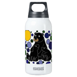 Mother and Baby Black Bear Abstract Art Design Insulated Water Bottle