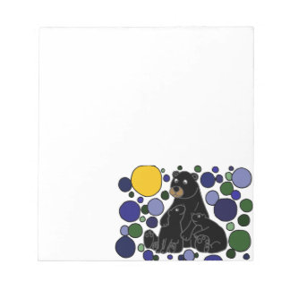 Mother and Baby Black Bear Abstract Art Design Notepad