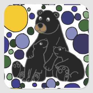 Mother and Baby Black Bear Abstract Art Design Square Sticker