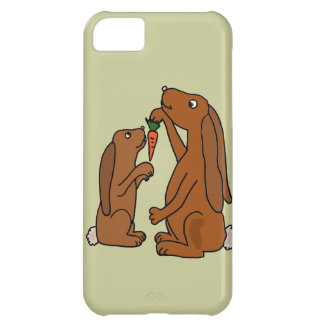 Mother and Baby Brown Rabbit Cartoon Cover For iPhone 5C