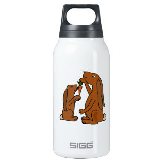 Mother and Baby Brown Rabbit Cartoon Insulated Water Bottle
