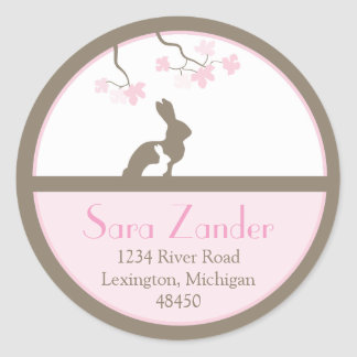 Mother and Baby Bunny Address Label Classic Round Sticker
