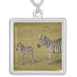 Mother and baby Burchell's Zebras, Equus Square Pendant Necklace