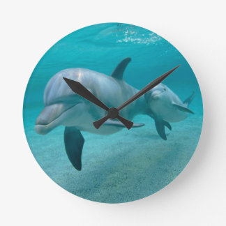 MOTHER AND BABY CALF DOLPHIN ROUND CLOCK