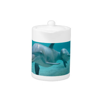 MOTHER AND BABY CALF DOLPHIN TEAPOT