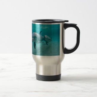 MOTHER AND BABY CALF DOLPHIN TRAVEL MUG